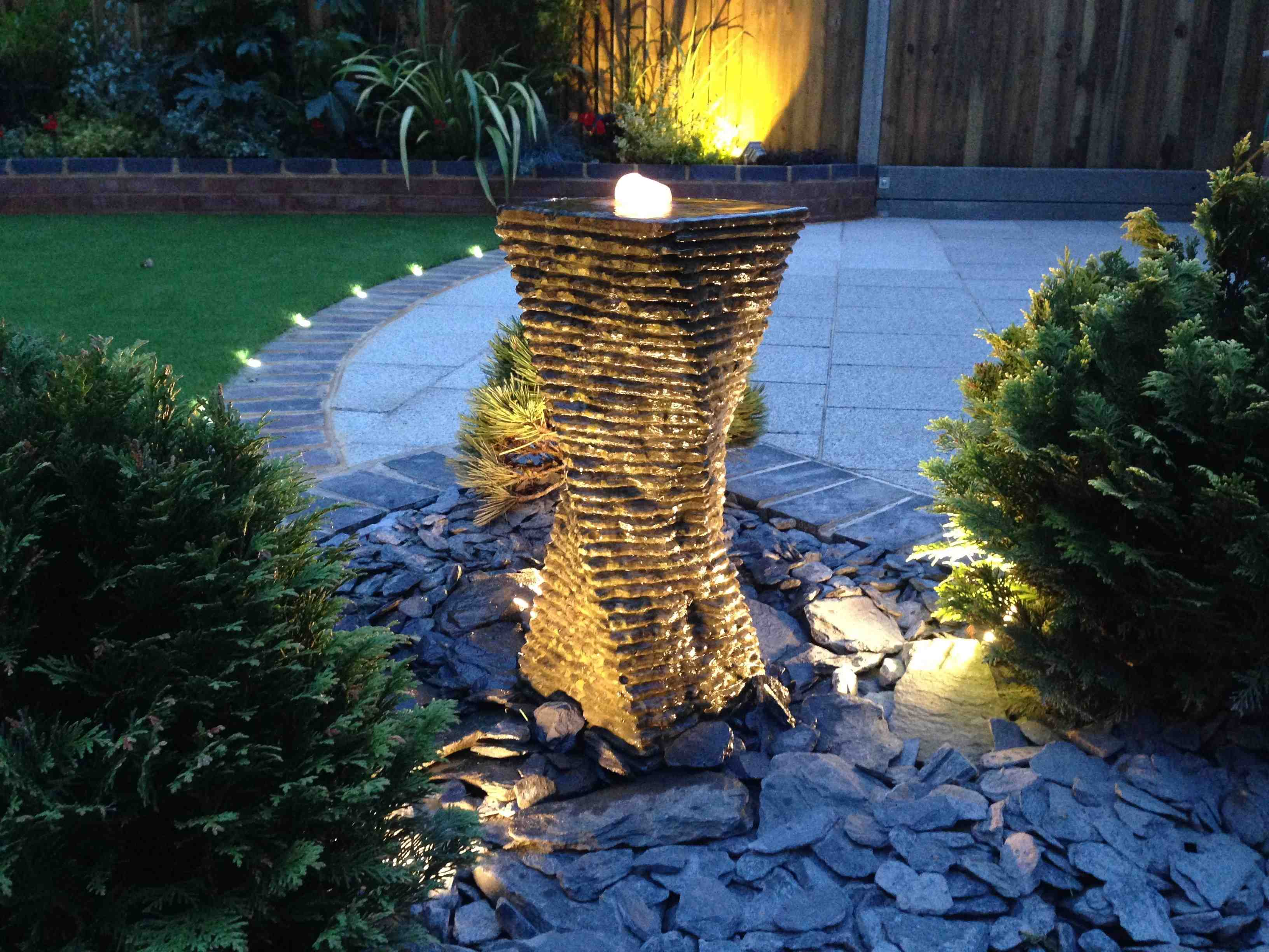 Garden Water feature with lights