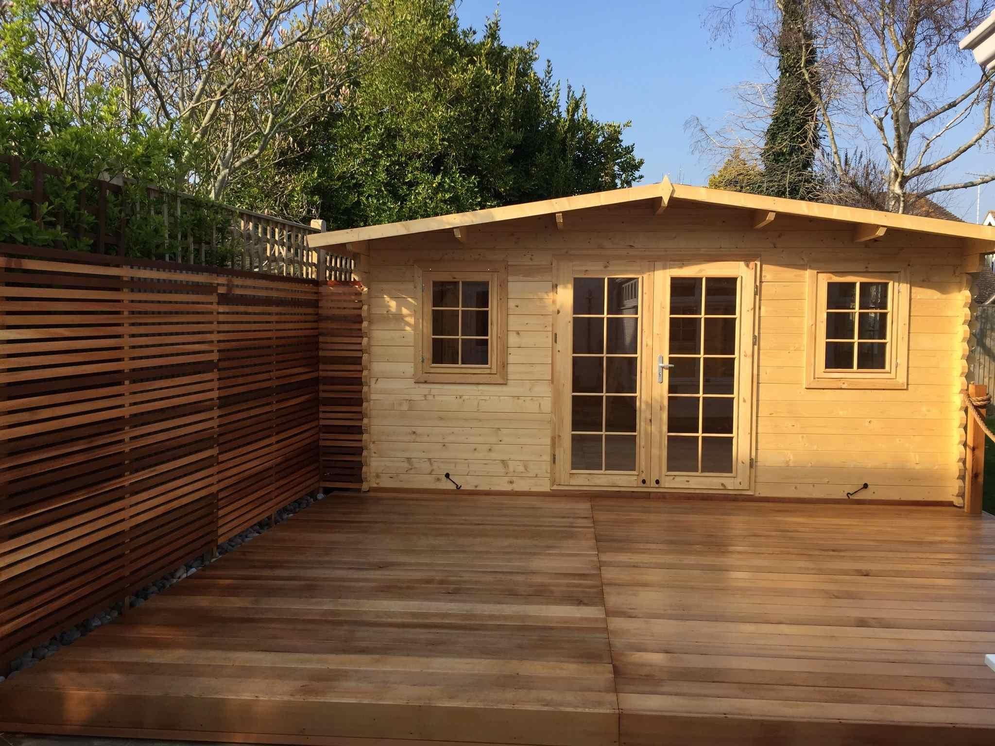 Garden Wood Decking and cabin